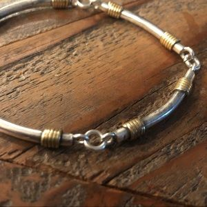 Sterling silver tube and link bracelet.